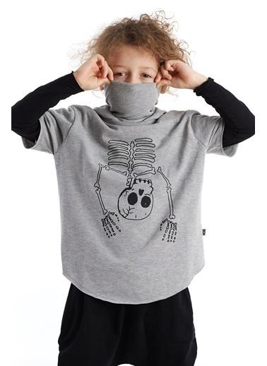 Colorinas Mask Hoody Baskılı T-Shirt Gri